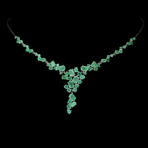 Unheated Oval Emerald 6x4mm White Gold Plate 925 Sterling Silver Necklace 18.5