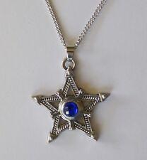Necklace #855 FANCY STAR Sapphire Blue Rhinestone (35mm wide) silver tone chain