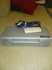 New listing Emerson Ewv404 4 Head Vhs Player (Powers on/won't play)w/remote and cable