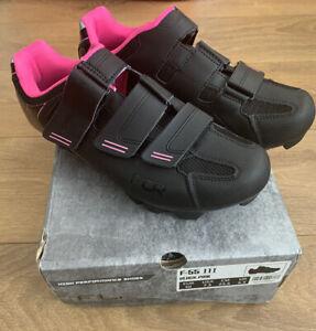 FLR F-55.III Womens Road Shoe - Matt Black/Pink Trim UK 6.5 Tried on once SPD