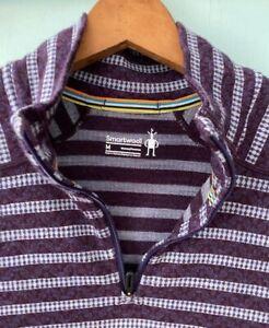 Smartwool Merino 1/2 zip purple stripe pattern women's medium  free shipping