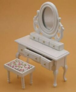 Doll House Accessories 1:12th Miniature - White Dressing Table.