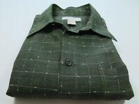 Ermenegildo Zegna Cotton Rayon Wool Green Checks Italian Casual Shirt Large EUC