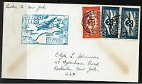 Portugal SC# C1 x 2 and C2, on cover, Lisbon to New York - Lot 072617