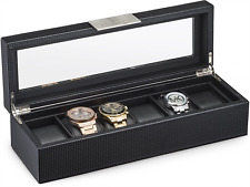 Watch Box for Men - 6 Slot Luxury Carbon Fiber Design Mens Display Case, Large H