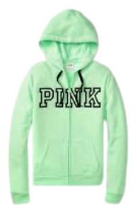 Victorias Secret PINK Logo Sweatshirt Jacket Hoodie Full Zip XLarge Green