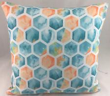 Teal, Peach, Lime and White Hexagon Design Evans Lichfield Cushion Cover
