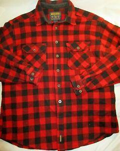Vtg WOOLRICH Wool Button Up Hunting Shirt~Red/Black Buffalo Plaid~Men's XL~EUC!
