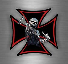 Sticker decal car vinyl motorcycle maltese cross skull biker moto death skeleton