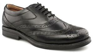 Black Wide Brogues Shoes EE Leather Oxford Shoes