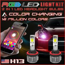 H13 2 in 1 LED Headlight Bulbs + RGB Demon Eye Bluetooth Control for Car/Truck