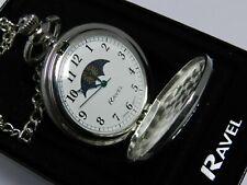 Pocket watch Polished Sun/moon, quartz, matching fob chain, by Ravel