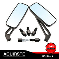 Black Motorcycle Rectangle Rearview Mirrors For Honda Suzuki Kawasaki LM 8/10mm