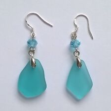 Turquoise Blue Beach Sea Glass Beads Dangle Jewelry Earring ~ Silver Hook JCT