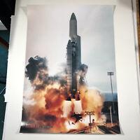 "VTG Titan IV Rocket Poster Martin Marietta TITAN 4 Space Themed Art 34""x 24"""