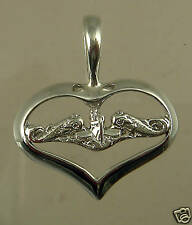 US Navy Licensed Submarine Dolphin SWEET HEART PENDANT .925 STERLING