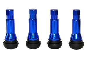 4 x BLUE TR414 METAL SLEEVED TUBELESS RUBBER TYRE VALVES WITH DUST CAPS