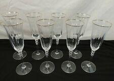 LOT OF 8 CHAMPAGNE FLUTES WINE GLASSES STEMWARE W/ GOLD TRIM