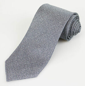 New BATTISTI NAPOLI Gray with Houndstooth Pattern 100% Silk Neck Tie $225