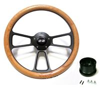 Nova Real Wood Steering Wheel w/ Black SS Horn & Matching Black Adapter  14""