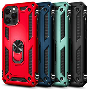 For iPhone 12 Pro/Max/Mini Case Ring Kickstand Cover + Tempered Glass Protector