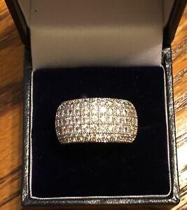 9ct gold white gold  1.00 carat diamond wedding band ring size L M