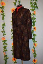 vintage 80s autumn print secretary dress size 16/18
