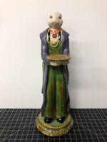 """Vintage Crackle Porcelain Bunny Rabbit Server Butler With Tray Sculpture 11"""""""
