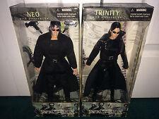 "Neo + Trinity 12"" Boxed Figures The Matrix N2 Toys 2000 BOTH MISP!"