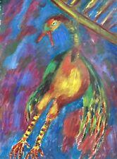 ART BRUT XXe.L'échassier pendu.Huile/papier70x50.Anonyme.Circa 1970.