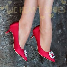 Ladies Womens Mid Low Heel Evening Shoes Satin Pointed toe Pumps Courts Formal
