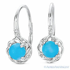 1.02 ct Cabochon Blue Turquoise & Diamond 14k White Gold Leverback Drop Earrings