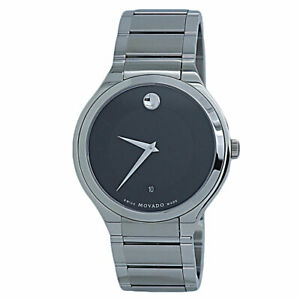 Movado Quadro Black Dial Stainless Steel Men's Watch 0607393