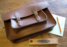Traditional Brown Leather School Uniform Satchel With Pocket & Shoulder Straps
