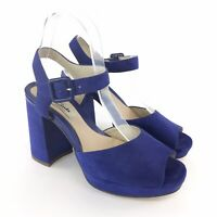 Clarks UK5 D Blue Leather Suede Slingback Peep Toes Court Platform Heels Shoes