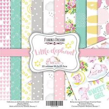 """12"""" x 12"""" scrapbooking paperpad cardstock Little Elephant 10 designs x 2 sheets"""