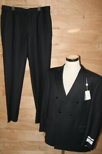 MURANO Men's Wool 2PC Suit Tailored Fit Black/Navy Size 46 R 40 W NEW