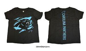 "Carolina Panthers Youth Black ""Ripped Off"" Black Tee"