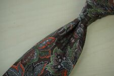 Brioni Gingerbread Tangerine Lime Paisley Floral Glossy Silk Tie Made in Italy