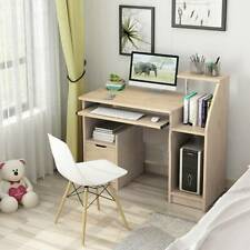 More details for computer desk writing study table office with drawers home study book shelf