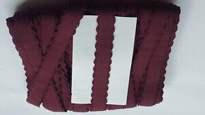 Bra making, Bra strap elastic, eggplant/violet, design picot 15 mm plush back