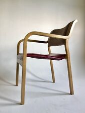 Vintage Thonet Red Mid Century Danish Modern Bent Wood Clam Lounge Desk Chair