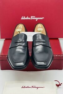 Ferragamo Mens loafers black 10 penny loafers executive dress shoes