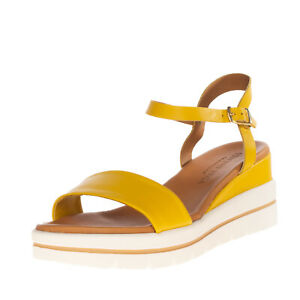 VINCENT VEGA Leather Ankle Strap Sandals EU 37 UK 4 US 7 Wedge Made in Italy