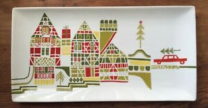 Crate and Barrel Yule Town Rectangular Serving Tray Julia Rothman Christmas 15""
