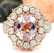 5.71 Carat Natural Kunzite 18K Solid Rose Gold Luxury Diamond Ring