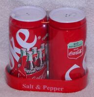 "COKE ICE COLD - ""GO REFRESHED DRINK COCA-COLA"" SALT & PEPPER SHAKER SET & CADDY"