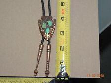 Bolo Tie Arrowhead Solid Copper Turquoise Southwestern