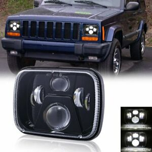 """55W 5X7"""" 7x6"""" LED Clear Projector Headlight For Jeep Cherokee XJ YJ Ford GMC 1PC"""