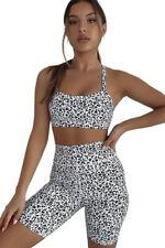 White leopard print gym sport yoga running fitness shorts set size SMALL, UK 6